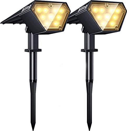Biling Solarstrahler Außen, 2-in-1 Solar Landschaftsbeleuchtung 12 LED-Lampen Solarbetriebene Leuchten IP67 Wasserdichte verstellbare Wandleuchte für Patio Pathway Yard Garden - Warmweiß (2er Pack)