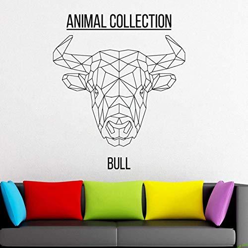 AGiuoo Etiqueta engomada geométrica del Vinilo de la Cabeza del Toro Animales Anime Etiqueta de la Pared Scandi Minimalista murales de Bricolaje monocromáticos 68x57cm