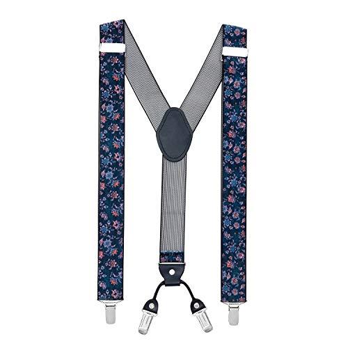 MASADA Bretelles pour hommes Clips robustes 3,5 cm de large jusqu'à 195 cm de hauteur Motif de fleur rétro