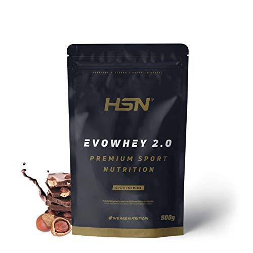 Concentrado de Proteína de Suero Evowhey Protein 2.0 de HSN | Whey Protein Concentrate| Batido de Proteínas en Polvo | Vegetariano, Sin Gluten, Sin Soja, Sabor Chocolate Avellana, 500g