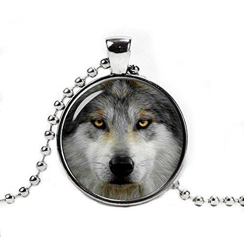 Handgefertigt Wolf Halskette Anhänger, Wolf, Schmuck, Anhänger Wolf, Tiere wild Wolf