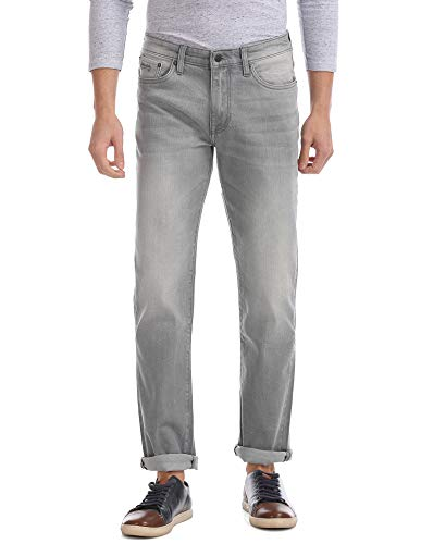 AEROPOSTALE Slim Straight Fit Rinsed Jeans Grey