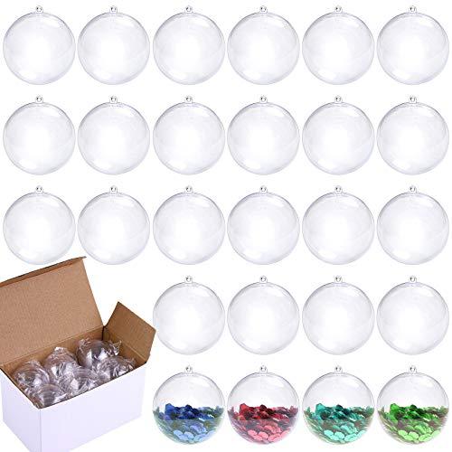 Aneco Lot de 30 boules de 50 mm en plastique transparent à remplir soi-même pour décoration de sapin de Noël pour fête, mariage, vacances, décoration d'intérieur, bombe de bain