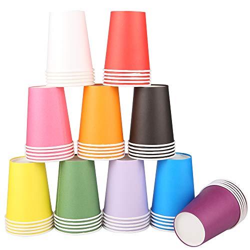 guansheng Bicchieri, 200pz Bicchieri di Carta Bicchieri Caffe Carta Bicchieri di Carta Acqua Bicchieri da Caffe Bicchierini caffè con Coperchio Bicchieri di Carta Grandi