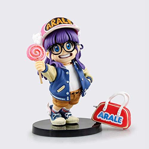 RGWSYTNIA Figura de Anime Estatua Dr. Slump Figura Arale Gajira con Gafas Sosteniendo una piruleta PVC Figura de Acción Juguetes muñeca Anime Regalos 12cm