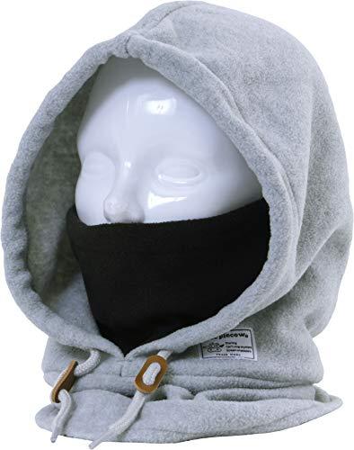 purplecow(パープルカウ)フードウォーマーフリースフード付きネックウォーマー防寒ボア付きPCA-1901FMOKFサイズメンズレディーススノーウェアスノボウェアスノーボードウェアインナースキーウェアウエアもこもこサバゲーフェイスマスクグレー灰色