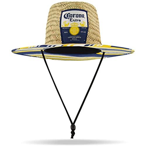Corona Sombrero de Paja Extra para Hombre con ala Grande, Rayas, Talla única