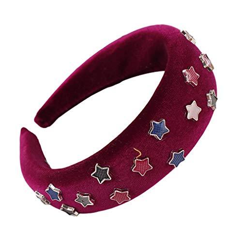 Dreamlulu Multicolor Étoile à cinq branches Éponge Bandeau Accessoires de cheveux mignons, Vin rouge