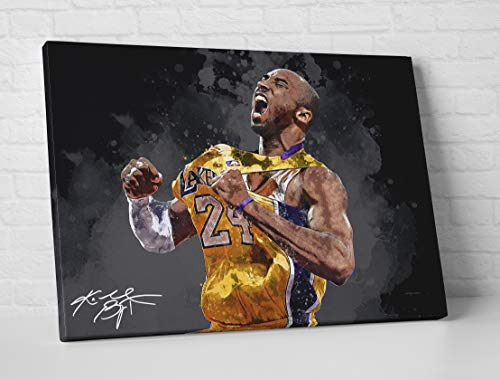 Kobe Bryant Signature Los Angeles Lakers Poster/Canvas Print - Basketball Artwork - Kids Room Wall Decor - Man Cave - Sports Decor - Birthday Gift Idea (Mounted Canvas, 16 x 24 Inches) image