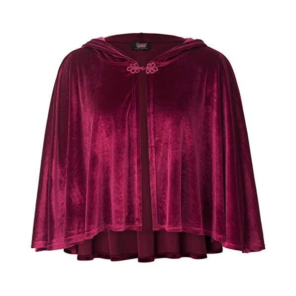 Women Victorian Vintage Steampunk Button Velvet Hooded Cape 3