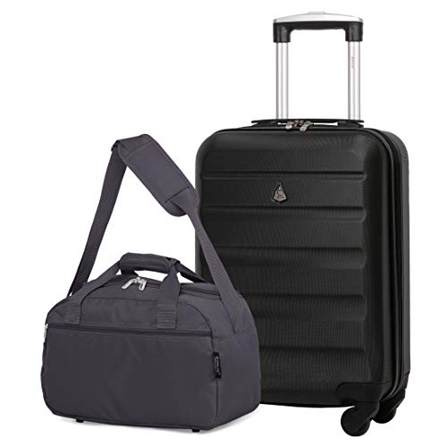 Aerolite 55x35x20cm Lightweight ABS Hard Shell Travel Carry On Cabin Hand Luggage Suitcase + 40x20x25 Ryanair Maximum Sized Holdall Cabin Bag (Black + Charcoal)