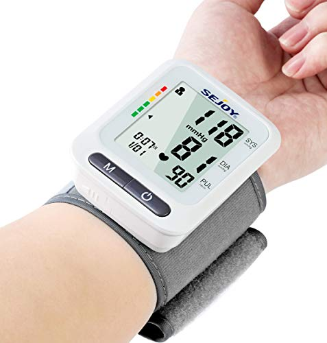 Blood Pressure Monitor Wrist Cuff, Automatic BP Monitor with Large LCD Display, 60×2 Reading Memory, Irregular Heartbeat Detector, Accurate Digital Blood-Pressure Machine