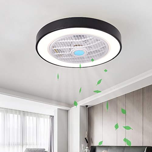Luz de Ventilador de Techo LED Regulable, con Control Remoto Velocidad del Viento Ajustable Ventilador de Techo Silencioso Sala de Estar Dormitorio Habitación para Niños Lámpara de Techo (E-Negro)