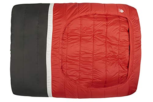 Sierra Designs Frontcountry Bed: Zipperless 20 Degree Synthetic Queen Double Sleeping Bag, Red/Black