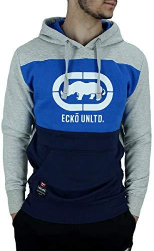Ecko - Sudadera de manga larga para hombre, color negro, azul y gris Gris Gris / Azul Marino L
