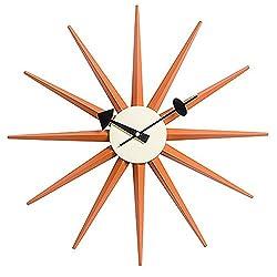 MJ Design Classic Wooden Sunburst Clock, Multi (Orange)