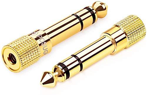Klinke Adapter 3.5mm auf 6.35mm 2 Stück, Posugear 6.35 Klinkenstecker auf 3.5 Klinken Buchse aux Audio Adapter mit Vergoldete Kontakte für Kopfhörer oder Lautsprecher