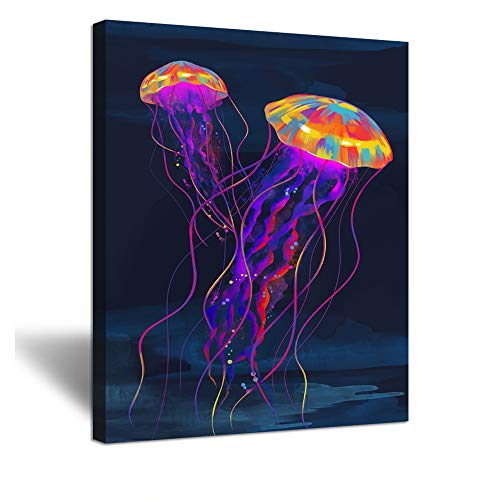 ZingArts Vintage Abstract Canvas Wall Art Colorful Jellyfish Under Deep Ocean Sea Life Animal Picture Painting On Canvas Gallery Wrap Modern Home Decor Ready to Hang 16x20inch