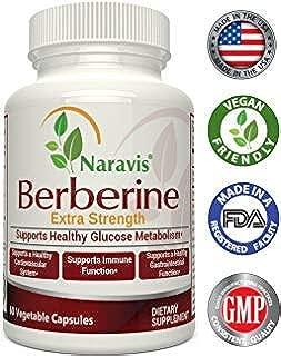Naravis Berberine HCl Complex Supplement - 600mg per Capsule - Supports Healthy Blood Sugar & Insulin Metabolism - Helps Cardiovascular Gastrointestinal & Immune Systems - Vegan