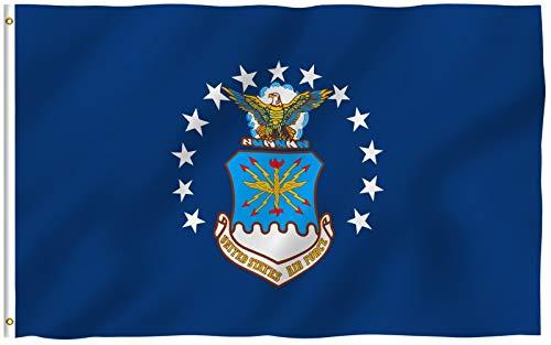 ANLEY Fly Breeze Bandeira da Força Aérea dos EUA de 3x5 pés - Cor vívida e resistente ao desbotamento UV - Cabeçalho de lona e costura dupla - Bandeiras de poliéster militar da Força Aérea