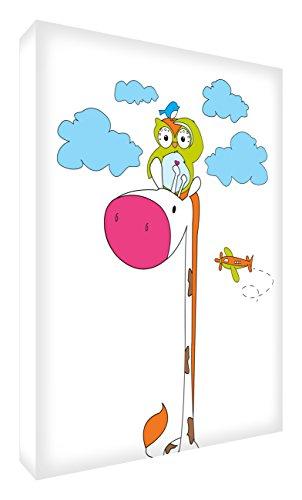 Feel Good Art GIROWL1216-12IT Tableau sur toile Motif girafe et hibou dans le ciel 20 x 30 cm multicolore