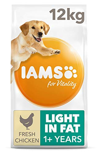 IAMS for Vitality Light in Fat Adult Dog Food for All Breeds with Fresh Chicken, 12 kg