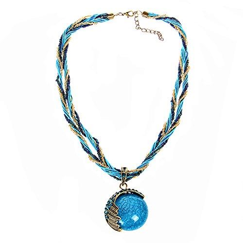 Demarkt 1pcs Bijoux Collier Femme Fille Pendentif Chaine claviculaire Collier de couleur bonbon sucré (Bleu) 42+5cm