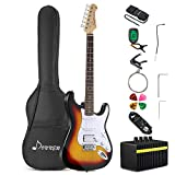 Donner DST-1S Solid Body 39 Inch Full-Size Electric Guitar Kit Sunburst, Beginner Starter, with Amplifier, Bag, Capo, Strap, String, Tuner, Cable, Picks