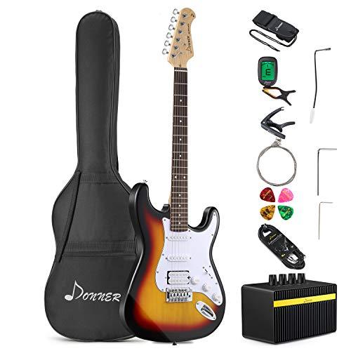 Donner Kit de Guitarra Eléctrica Stratocaster de Tamaño Completo con amplificador, bolsa, capo, correa, cuerda, sintonizador, cable y púas(Sunburst Clásico, DST-102S)