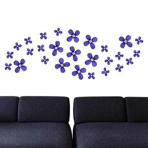 Walplus extraíble adhesivo pared pegatinas flores cristal morado 3d art Decals hogar...