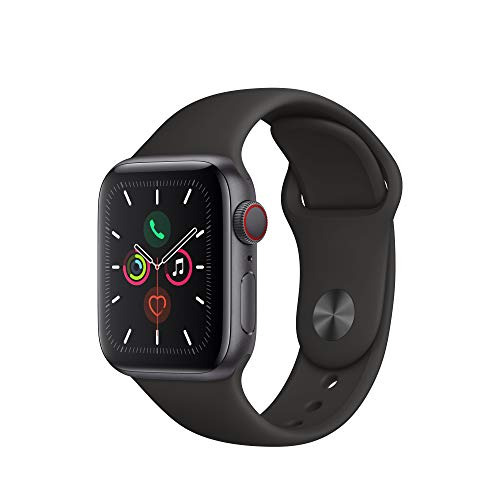 Apple Watch Series 5 (GPS + Cellular, 40 mm)  Aluminio en Gris espacial - Correa Deportiva Negro