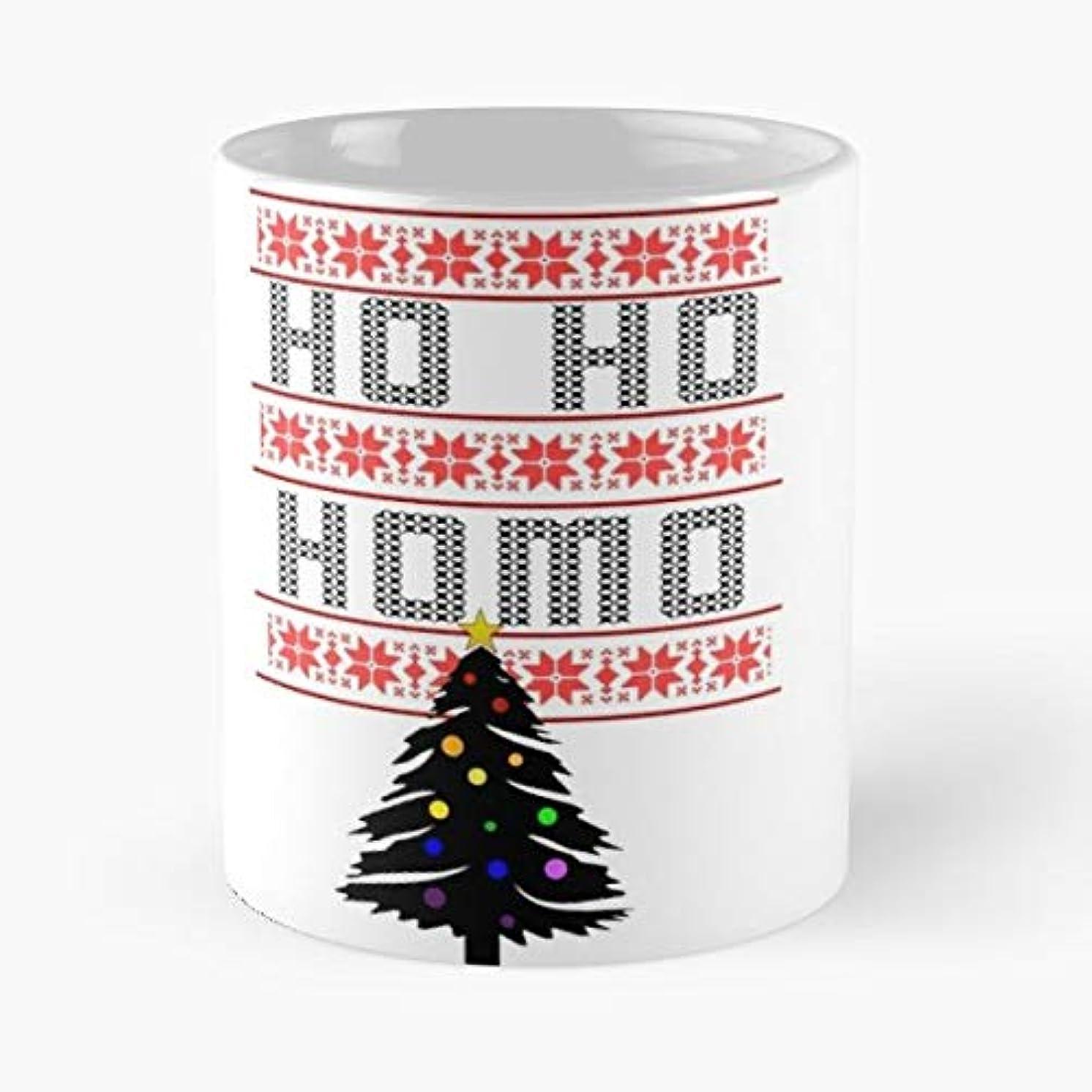 Christmas Sweater Ho Homo Gay - Handmade Funny 11oz Mug Best Holidays Gifts For Men Women Friends.