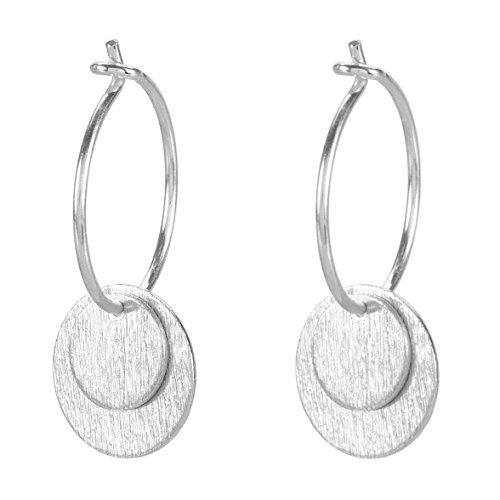 PERNILLE CORYDON Damen Creolen Ohrringe DOUBLE COIN mit je zwei runden Kreis-Anhängern mit gebürsteter Oberfläche - toller Echtschmuck aus 925er Sterling Silber - E002s