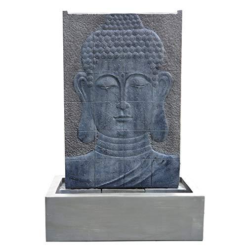 Köhko® Wasserspiel Buddha Höhe ca. 102 cm mit LED-Beleuchtung Wasserwand für Garten, die Terrasse und Wohnzimmer