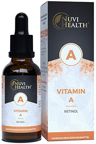 Vitamin A Tropfen - 50ml = 1700 Tropfen - Extra hochdoisert: 5000 I.E (1500 µg) pro Tag - Echtes Vitamin A (Retinylpalmitat) - Laborgeprüft - Vegan - Ohne Alkohol