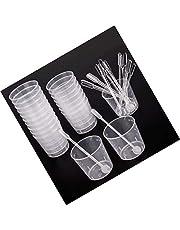 Lvcky 20 Pack 60 ml Transparant Polypropyleen Kunststof Gegradueerde Bekers met 20 Roerstaven voor het mengen van verf, vlek, epoxy, hars