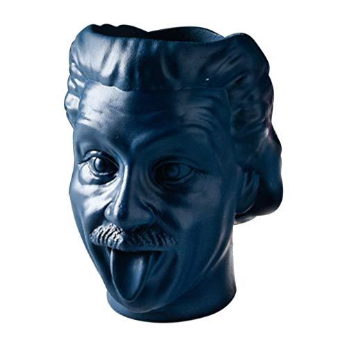 Anna822 Blumentopf aus Kunstharz, Einstein, Hochformat, Stauraum, Kunstvase, Vintage-Statue, Ornament, Studio, Fotografie, Heimdekoration, dunkelblau, Free Size