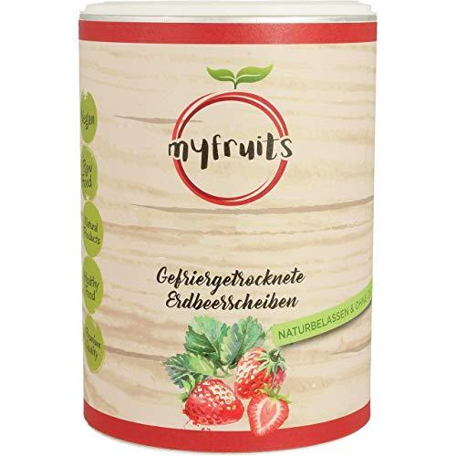 myfruits® Erdbeerscheiben - gefriergetrocknet - ohne Zusätze, zu 100% aus Erdbeeren, knusprige Zutat für Müsli oder Porridge (50g)