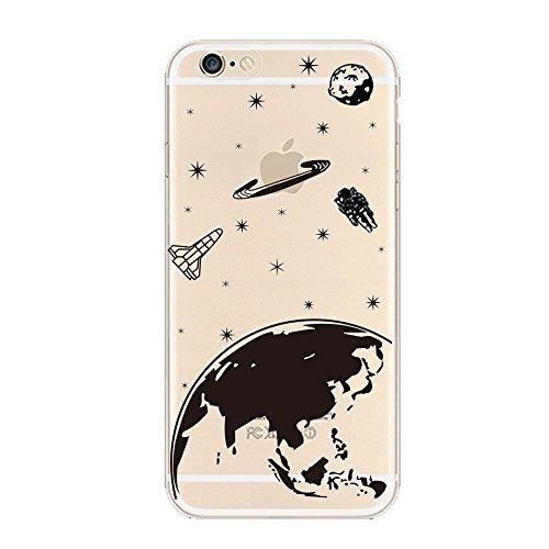 """Keyihan Cover Compatibile con iPhone 6 e iPhone 6S 4,7"""" Custodia Ultra Leggera Sottile Trasparente Chiaro disegni Morbida Silicone TPU Case Divertente Nero Pattern (Pianeta Terra Stella)"""