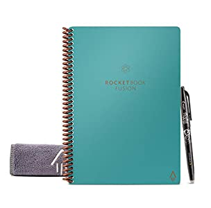 "Rocketbook Fusion Smart Reusable Notebook - Calendar, To-Do Lists, and Note Template Pages with 1 Pilot Frixion Pen and 1 Microfiber Cloth Included - Neptune Teal Cover, Executive Size (6"" x 8.9"")"