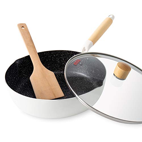 Frying Pan ROCKURWOK Nonstick Deep Saute Pan Omelette Skillet with Glass Lid 10 inch White