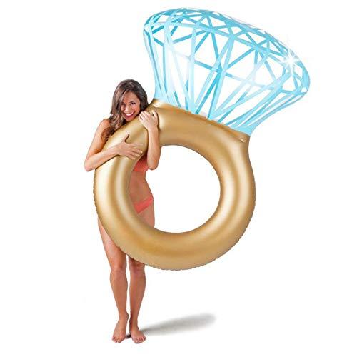 GOODS+GADGETS Aufblasbarer Diamantring Schwimmreifen - Schwimmring als romantische Diamant Badeinsel