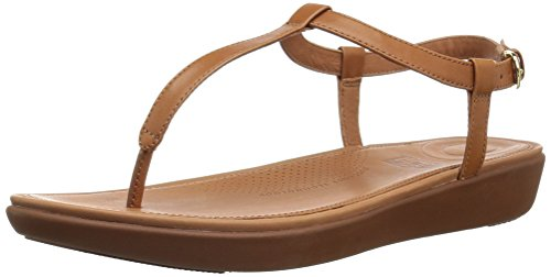 Fitflop Tia Toe-Thong Sandals-Leather, Bout Ouvert Femme, Caramel, 38 EU