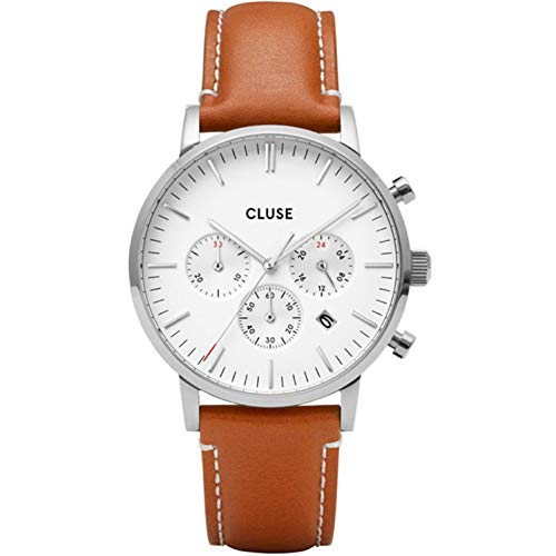 Cluse Aravis herenhorloge kwarts 40 mm lederen band CW0101502003