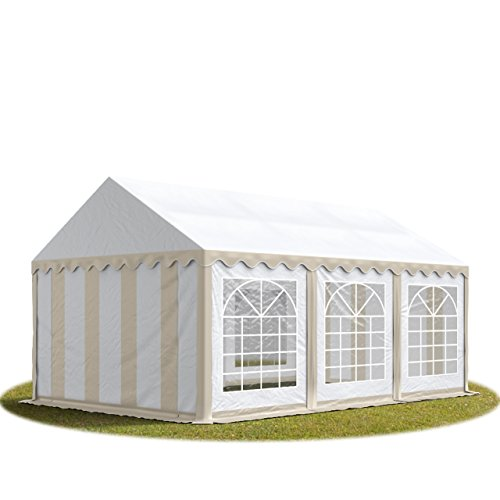 TOOLPORT Tendone per Feste 3x6 m PVC Beige-Bianco 100% Impermeabile Gazebo da Giardino Tendone da Esterno Tenda Party
