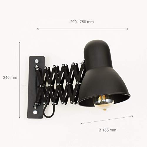 Schwarze Wandlampe mit Schalter E27 ausziehbar schwenkbar Wandleuchte Kinderzimmer Küche Bürolampe