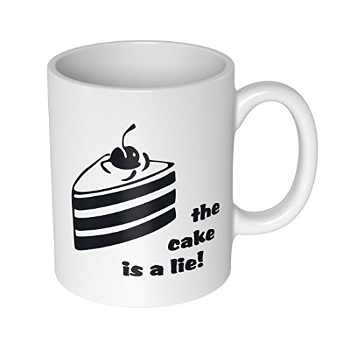 getDigital The Cake is A Lie Becher Tasse für Nerds und Geeks, Keramik, weiß, 10 x 10 x 10 cm
