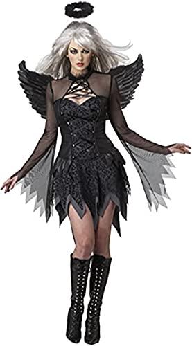 Disfraces de Halloween para mujer, vestido de ngel cado con alas de halo para fiesta de adultos, disfraz de cosplay (L)
