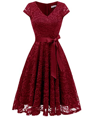 BeryLove Damen V-Ausschnitt Kurz Brautjungfer Kleid Cocktail Party Floral Kleid BLP7006DarkRedL