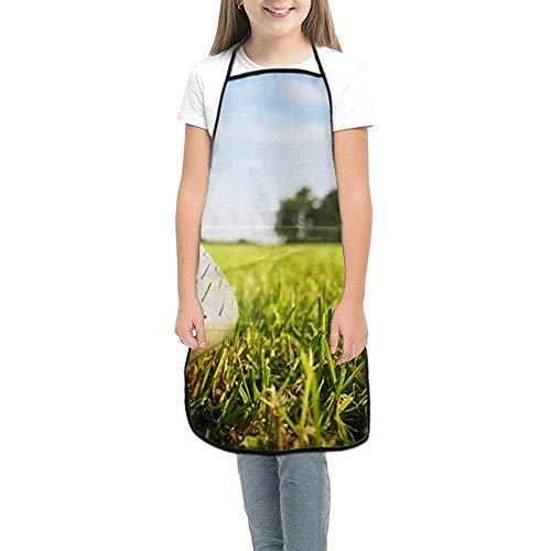 SRhui Golfschläger und Bälle Lätzchenschürze für Mädchen und Jungen, niedliche Polyester-Malschürze mit Tasche